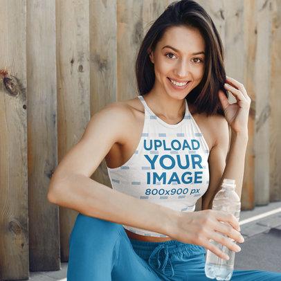 Mockup of a Happy Woman Wearing a Sublimated Crop Top Tank Top 43269-r-el2