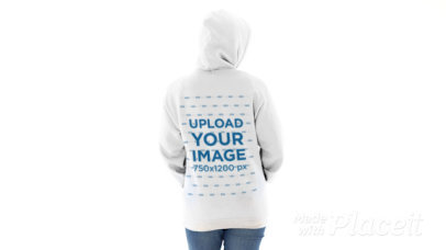 Back-View Hoodie Video of a Woman at a Minimalist Setting 44637v