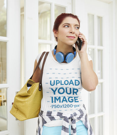 T-Shirt Mockup of a Woman Getting Out of Her Home While Talking on the Phone 42305-r-el2
