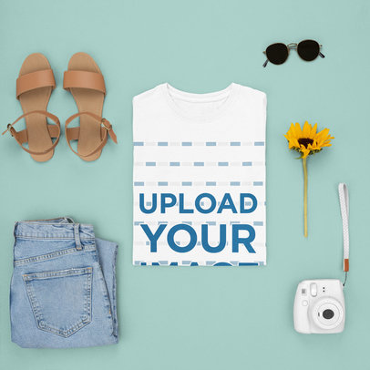 Tee Mockup Featuring a Spring Outfit and a Sunflower m1645