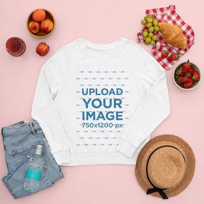 Sweatshirt Mockup Featuring Picnic Food m1665