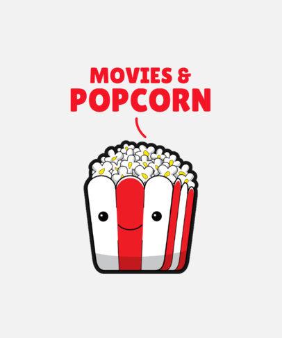 Cute T-Shirt Design Template Featuring a Popcorn Box Cartoon 3528d-el1