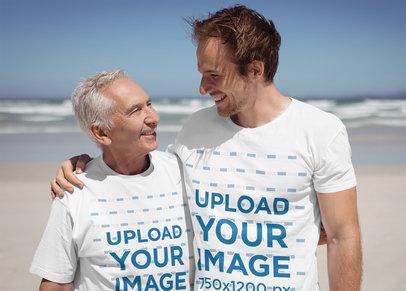 T-Shirt Mockup of a Man with His Dad at the Beach 40510-r-el2