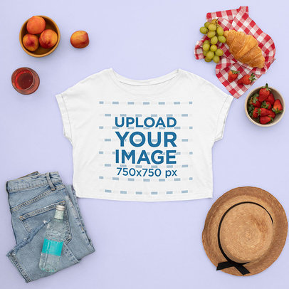 T-Shirt Mockup Featuring a Woman's Picnic Outfit m1668
