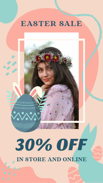 Instagram Story Design Maker to Announce an Easter Sale Featuring a Decorated Egg Clipart 3389b