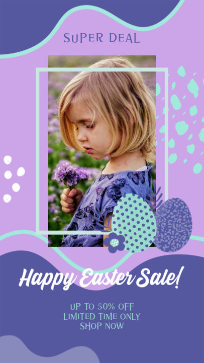 Instagram Story Design Template for Easter Deals Featuring an Illustrated Background 3389c