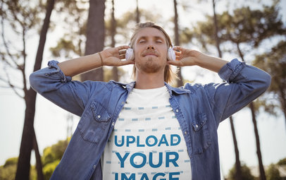 T-Shirt Mockup of a Man Listening to Music in Nature 44791-r-el2