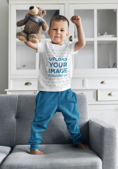 T-Shirt Mockup of a Little Boy Playing in His Living Room 46479-r-el2