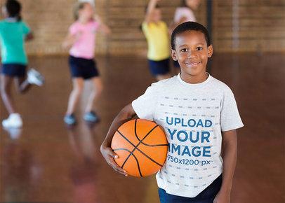 Heathered Tee Mockup Featuring a Boy Training Basketball 41896-r-el2