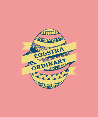 T-Shirt Design Template for Featuring a Decorated Easter Egg Illustration 3514b-el1