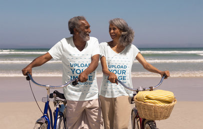V-Neck T-Shirt Mockup of a Senior Couple Riding Bikes by the Beach 40489-r-el2