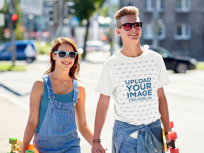 Tee Mockup of a Young Skater Hanging with His Girlfriend 40846-r-el2