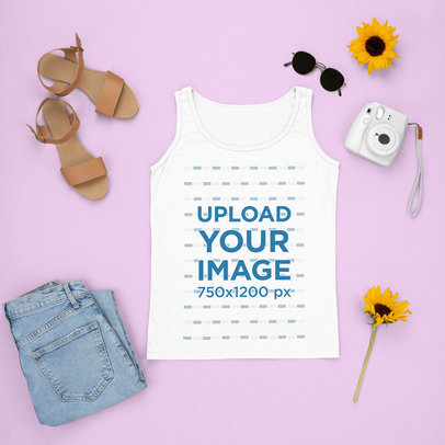 Tank Top Mockup Featuring a Chic Summer Outfit and an Instant Camera m1643