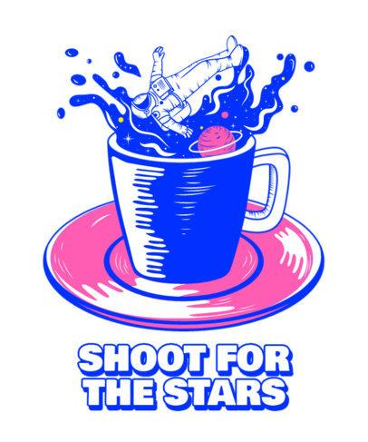 T-Shirt Design Generator Featuring an Astronaut Splashing in a Coffee Mug 3380c