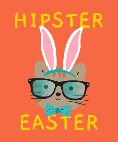 Funny T-Shirt Design Maker Featuring a Cat Dressed as an Easter Bunny 3387e