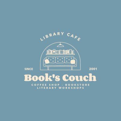 Book Store Logo Template Featuring a Cozy Sofa 4063e