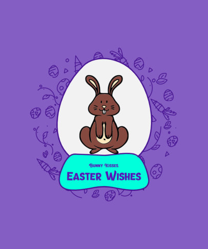 T-Shirt Design Template for Children Featuring a Happy Easter Bunny Illustration 3512d-el1
