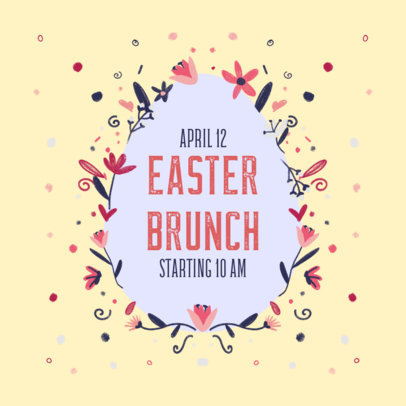 Facebook Post Generator for an Easter Brunch Announcement Featuring Flower Graphics 3391a