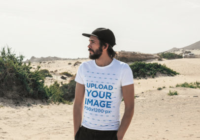 Mockup of a Bearded Man Wearing a T-Shirt Outdoors 45768-r-el2