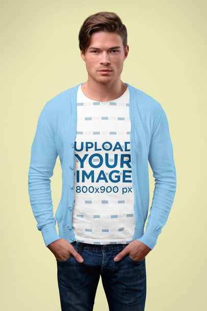 Sublimated T-Shirt Mockup of a Man Wearing a Cardigan in a Studio 41411-r-el2