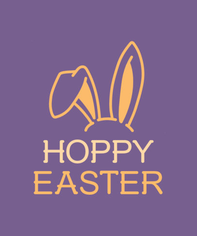T-Shirt Design Template to Celebrate Easter Featuring Bunny Ears 3384e