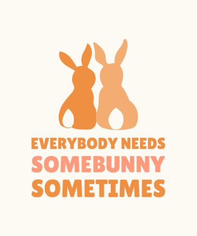 Holiday T-Shirt Design Template Featuring Easter Bunnies and a Quote 3384g