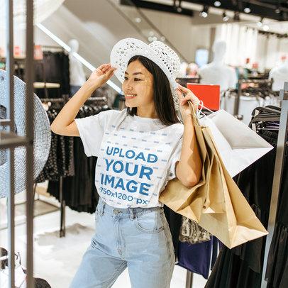 T-Shirt Mockup of a Shopping Fashionista 44389-r-el2