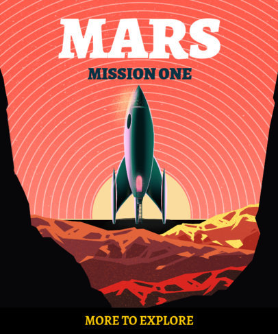 Retro T-Shirt Design Creator with an Illustrated Rocket on Mars 3379c