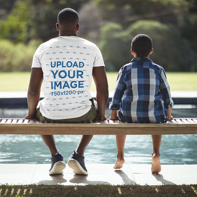 Back-View T-Shirt Featuring a Man with His Son by a Pool 40620-r-el2