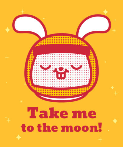 T-Shirt Design Template Featuring a Cute Rabbit With an Astronaut Helmet 3381b