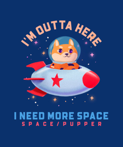 Illustrated T-Shirt Design Template Featuring a Dog on a Space Rocket 3382a