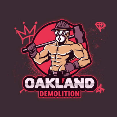 Logo Maker for a Sports Team Featuring an Illustration of a Man With a Mallet 4060j