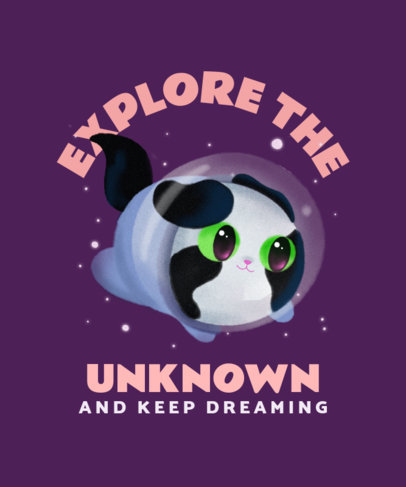 T-Shirt Design Creator Featuring a Cute Cat Exploring Space 3382b