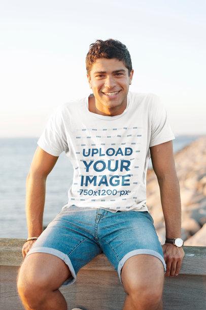 Tee Mockup of a Smiling Man by the Ocean 45770-r-el2