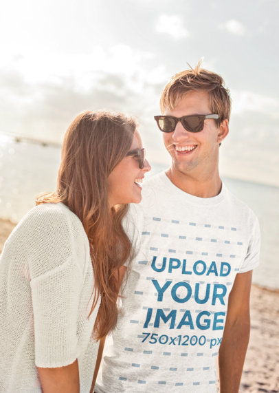 T-Shirt Mockup of a Man Walking by the Beach with His Girlfriend 45773-r-el2