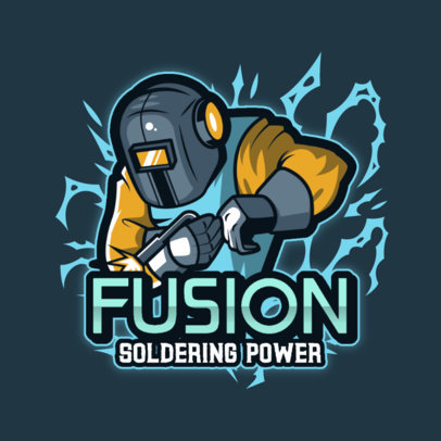 Logo Creator for Gamers Featuring an Illustration of a Welder 4060c
