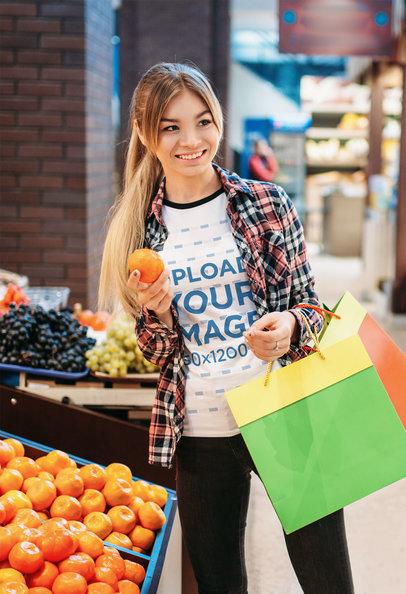 Ringer Tee Mockup of a Woman Shopping Fresh Fruits 42892-r-el2