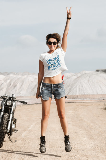 T-Shirt Mockup Featuring a Female Biker Jumping 41699-r-el2