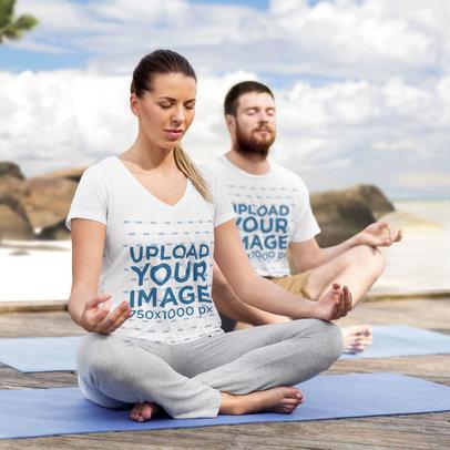 T-Shirt Mockup of a Woman and a Man Meditating by The Sea 42298-r-el2