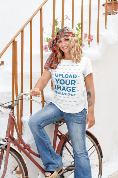T-Shirt Mockup of a Hipster Woman Posing with Her Bicycle 45449-r-el2