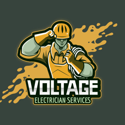 Gaming Logo Maker Featuring an Illustration of an Electrician 4060o