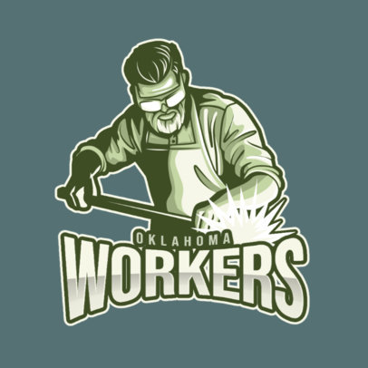 Illustrated Logo Template for Gamers Featuring a Man Working with Steel 4057e