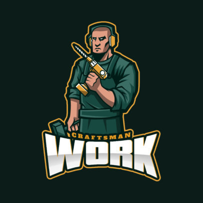 Logo Template for Gamers with a Worker Holding a Drill 4057m