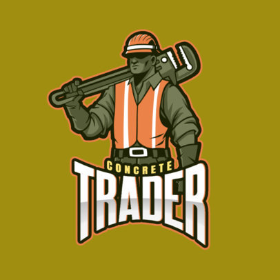 Gaming Logo Maker Featuring a Worker with a Pipe Wrench 4057p
