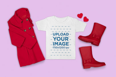 Outfit Mockup Featuring a T-Shirt with Vibrant Red Garments m1301