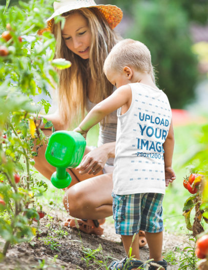 Back-View Tank Top Mockup of a Kid Watering a Plant with His Mom 42215-r-el2