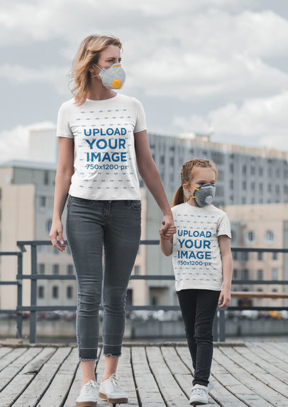 T-Shirt Mockup of a Woman and Her Daughter Wearing Face Masks 45480-r-el2