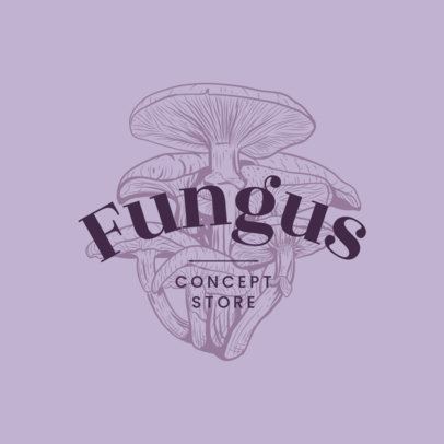 Concept Store Logo Template with Engraved Fungus 3931o