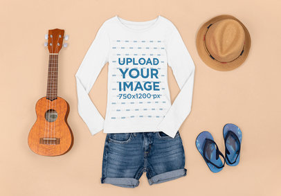 Mockup Featuring a Long Sleeve Tee Placed by a Ukulele and Beach Accessories m1293