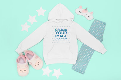 Flat Lay Hoodie Mockup Featuring a Little Girl's Outfit m1267